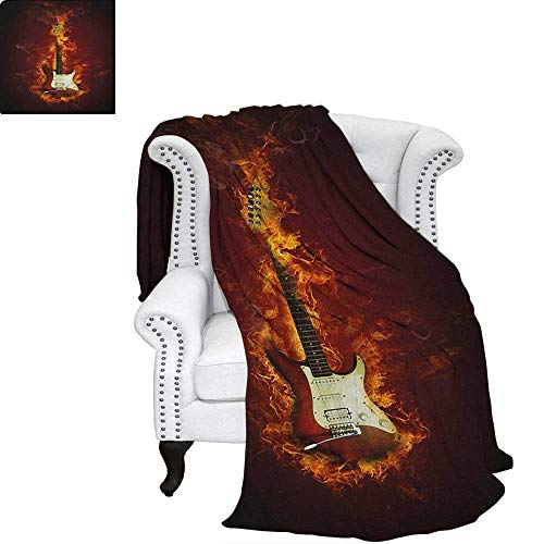 (GuitarOffice Throwing blanketElectric Guitar in Flames Burning Fire Hardrock Musical Creativity ConceptOffice Warm Blanket 90
