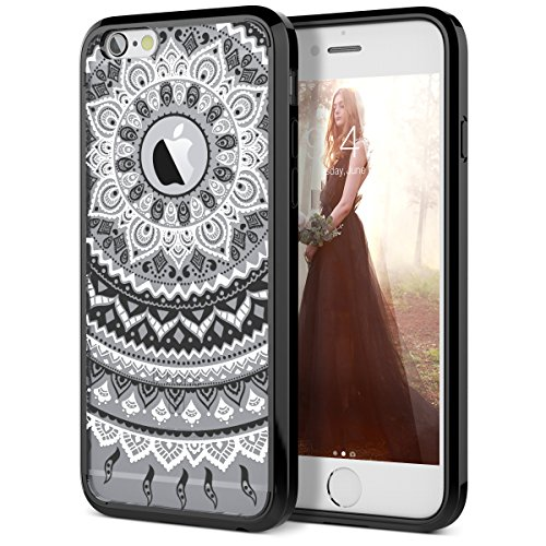 iPhone 6 Plus Case, iPhone 6S Plus Case, SmartLegend Retro Totem Mandala Floral Pattern Hybrid Clear PC Hard Back with TPU Bumper Acrylic Protective Transparent Case for iPhone 6/6S Plus 5.5 - Black