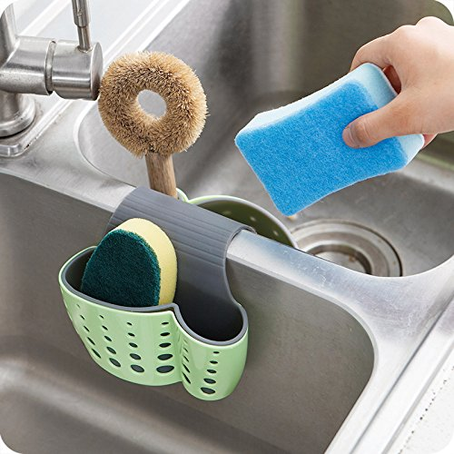 Samy Best 2 Sided Kitchen Sink Hanging Strainer Storage Holder Bag Sponge Towel Draining Rack Cleaning Brush Toothbrush Holder by Samy Best
