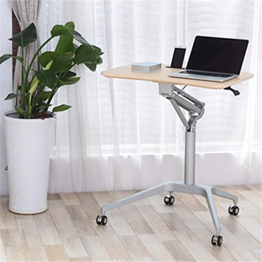 Pneumatic Height Adjustable Sit Stand Mobile Laptop Computer Desk Standing Folding Laptop Cart Home Office Workstation For Classrooms Offices And Home C Amazon Co Uk Kitchen Home