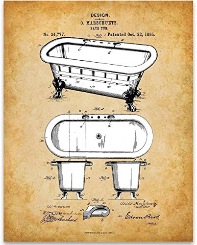 Clawfoot Bath Personal - Clawfoot Bathtub - 11x14 Unframed Patent Print - Great Gift Under $15 for Bathroom Decor