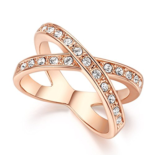 (FENDINA Womens 18K Rose Gold Plated Wedding Engagement Rings Criss Cross 'X' Cubic Zirconia Anniversary Promise Rings)