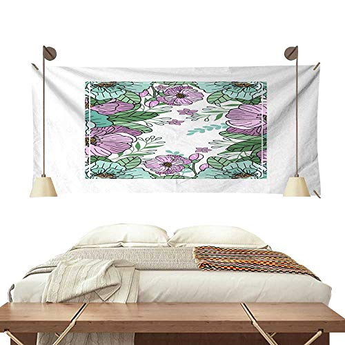 Wedding Invitation Time Frame - BlountDecor Horizontal Tapestry Flower Frame for Greeting Card Wedding Invitation Design with Flowers and Leaves Hand Painted Floral Background for Your 84W x 70L Inch