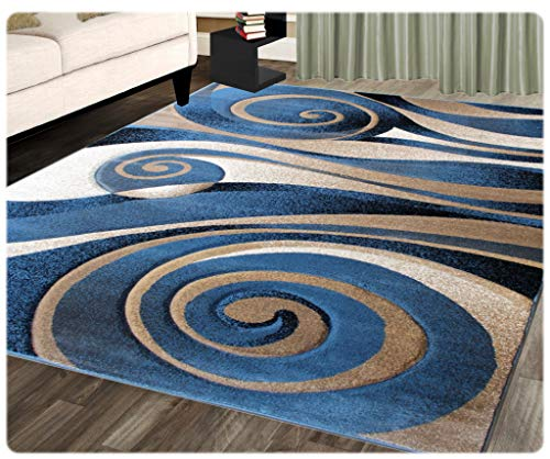(Sculpture Modern Area Rug Design 258 Blue (8 Feet X 10 Feet 6 Inch))