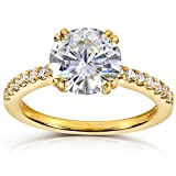 Round-cut Moissanite Engagement Ring with Diamond 2 1/10 CTW 14k Yellow Gold