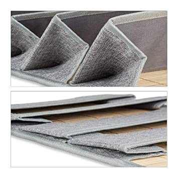 Newspaper Holder for the Office or Hallway 75 x 34 x 12 cm Grey Relaxdays Bamboo Hanging Organiser with 4 Jute Compartments