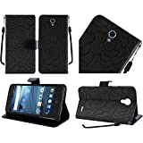 HR Wireless ZTE Avid Trio Z833 Leather Wallet Flip Case Textured Rose Flower Design - Black