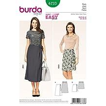 Burda Ladies Easy Sewing Pattern 6733 Wrap Over Side Tie Skirts