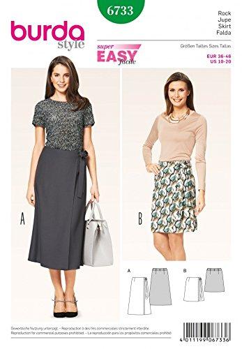 Burda Ladies Easy Sewing Pattern 6733 Wrap Over Side Tie Skirts ...
