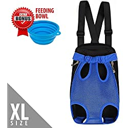 Dog Carrier | Comfortable Legs Out Front Dog Cat Carrier Backpack with Tail Hole | Airline Approved Pet Bag for Travel Cycling Outdoor | Adjustable Shoulder Strap and Inner Collar | Vibrant Blue, XL