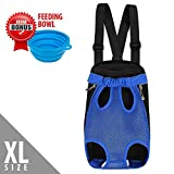 (Upgrade Sizing) Dog Carrier, Comfortable Legs Out Dog Carrier Backpack, Handsfree Dog Cat Pet Bag for Travelling Hiking Camping with Easy Fit Adjustable Shoulder Strap, Feeding Bowl Included Review