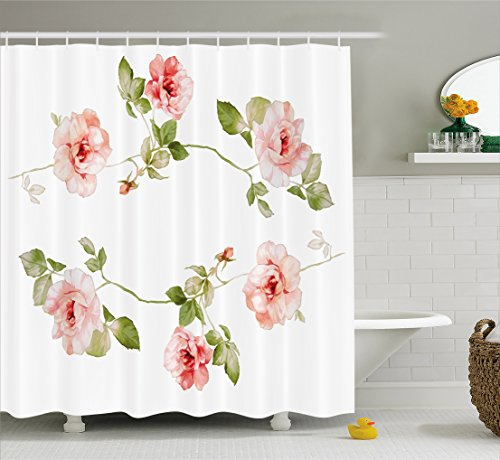 Ambesonne Floral Shower Curtain, Romantic Rose Flower Petals Shabby Chic Kitsch Love Blooms Design, Fabric Bathroom Decor Set with Hooks, 75 Inches Long, Reseda Green Peach Coral