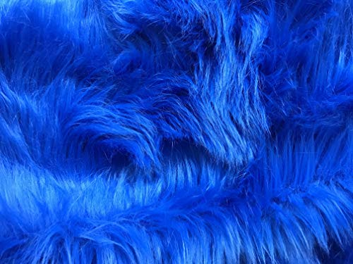 Bianna Luxury Faux Fur Shag Shaggy Fabric Piece/DIY Craft Project/Photo Prop Backdrop/Basket Filler/Fursuit/Trim - All Pieces Measured in INCHES (Royal Blue, 24x36 inches)