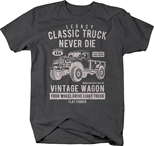 Power Wagon Dodge Vintage Distressed 4x4 Truck Military Classic Tshirt - XLarge Graphite