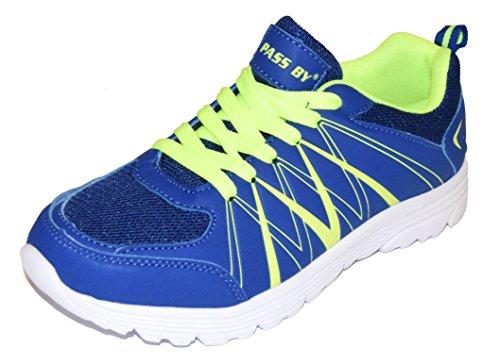 BTS - Zapatillas de running de malla para mujer Multicolor - Blau/ Neon Grün