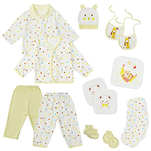 Infant Layette (0-3 Months Baby Clothes Unisex Newborn Layette Set Infant Essentials Outfits (Yellow))
