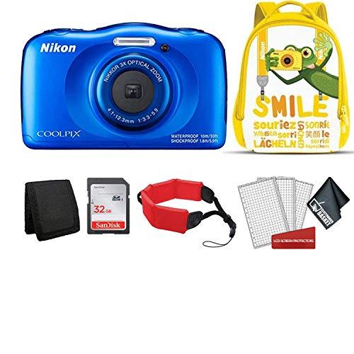 Nikon Coolpix W150 Kid-Friendly Rugged Waterproof Digital Camera (Blue) Bundle with Yellow Backpack + 32GB SanDisk Memory Card + More (International Model)