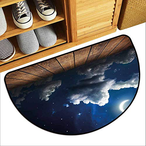 Printed Door mat Night Sky Dots Liked Star Moon Crescent Foggy Clouds Wooden Seem Deck Image Easy to Clean W30 xL18 Brown White and Dark Blue