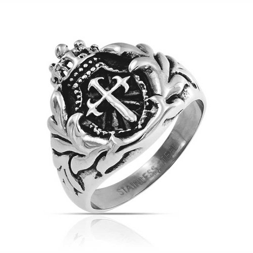 - Bling Jewelry Mens Religious Crown Viking Knight Shield Maltase Fleur De Lis Cross Signet Ring for Men Oxidized Silver Tone Stainless
