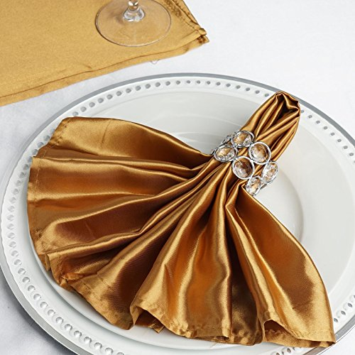 Efavormart 25'x25' Gold Wholesale SATIN Linen Napkins For Wedding Birthday Party Tableware - 25 PCS