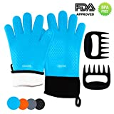 Silicone BBQ Oven Gloves (Blue) & Meat Claws - Extra Thick Non-Slip Waterproof Heat Resistant Oven Mitts & Ultra-Sharp Blades Claws for Cooking, Baking, Grilling