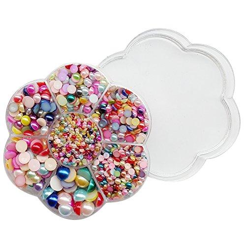 Assorted Scrapbook - Chenkou Craft Random 1900pcs Assorted 7 Sizes Half Flatback Pearl Bead Gem Scrapbook Craft DIY Loose Beads + Plastic Box (Multi-Color)