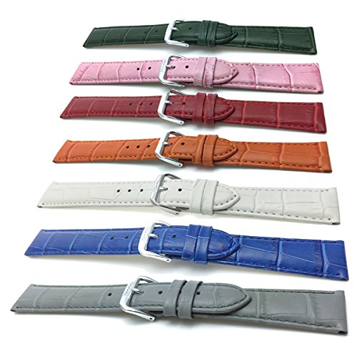 12mm-to-20mm-Womens-Alligator-Style-Genuine-Leather-Watch-Band-Strap-Comes-in-White-Red-Blue-Beige-Orange-Pink-Grey-and-Green
