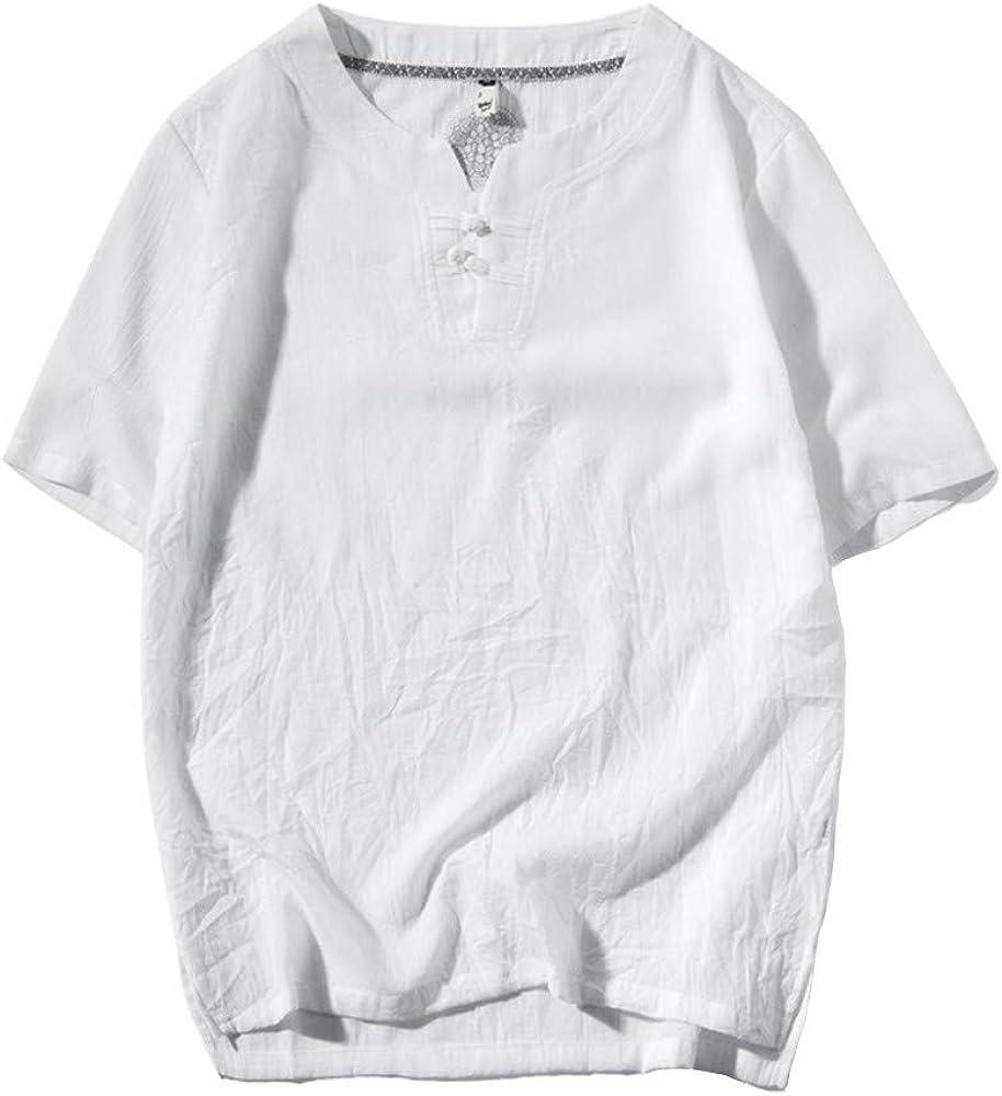 TUDUZ Camisetas Hombre Manga Corta Camisa de Lino y Algodón de Color Liso Un Pequeño Loto en la Parte Posterior de la Ropa (Blanco M): Amazon.es: Ropa y accesorios