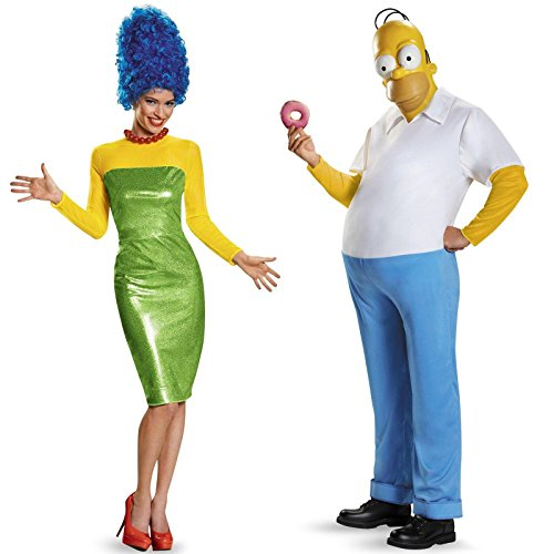 The Simpsons Homer XXL and Marge XL Bundle Set (Couples Cosplay Costumes)