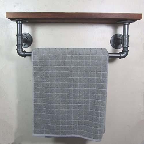 BATHROOM DECORATION-URBAN INDUSTRIAL RUSTIC IRON PIPE TOWEL RAIL WOODED SHELF SHELVING STORAGE (Christmas Baskets Houston)