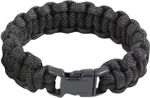 Military Survival Paracord Bracelet (8″, Black), Outdoor Stuffs