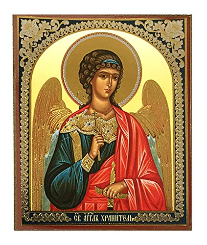 (Religious Gifts Russian Orthodox Catholic Icon Guardian Angel with Three Bar Cross Sword 3 Inch)