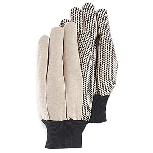 MAGID Glove & Safety T30PT PVC Dot Canvas Glove, Large, White