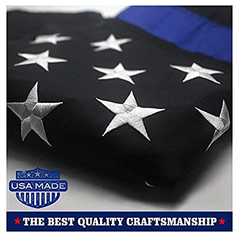 57f6d828a774 Amazon.com   VSVO Thin Blue Line American Police Flag 3x5 ft - Embroidered  Stars and Sewn Stripes with Grommets Black White and Blue USA Flags    Garden   ...