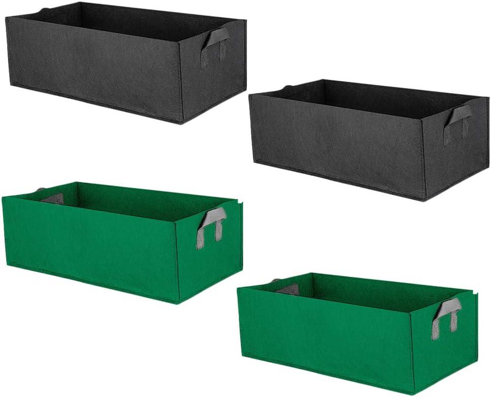 APEEDV 4 Pack Raised Garden Beds,Non-Woven Planting Bag Garden Pot,Rectangle Nursery Container with Handles (23.6'' x 11.8'' x 7.9'')