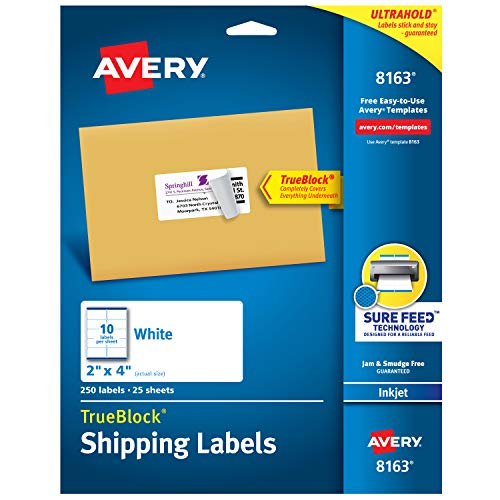 Avery Shipping Address Labels, Inkjet Printers, 1,250 Labels, 2x4 Labels, Permanent Adhesive, TrueBlock (5-pack -