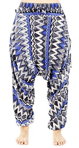 BUDDHA PANTS Premium Cotton Harem Pants Womens Blue Zags Pattern (X-SMALL, BLUE) by Buddha Pants