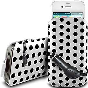 Direct-2-Your-Door - Nokia Asha 311 PU protector Polka de cuero con cremallera diseño antideslizante de cordón en la bolsa del caso con cierre rápido y CE Cargador de coche - Blanco