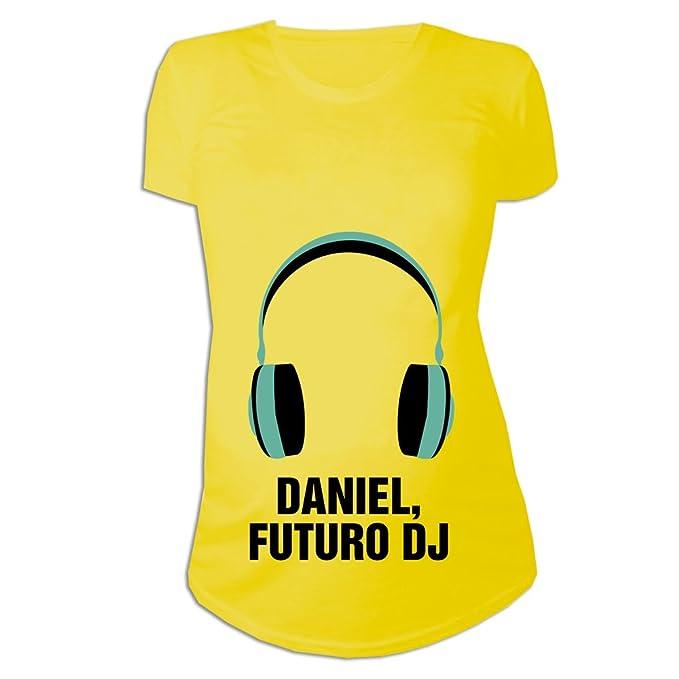 Calledelregalo Regalo Personalizable para Mujeres Embarazadas de un Niño: Camiseta Futuro DJ Personalizada