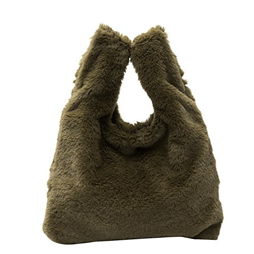 Grey Fluffy Handbag Ultra Bag Soft Vbiger Women Light Bag Tote Clutch Green Chic wFPnaqOA