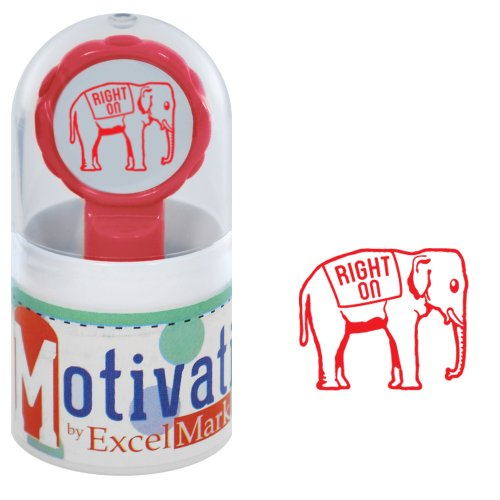 Motivations Pre-inked Teacher Stamp - Right On (Elephant) - Red Ink