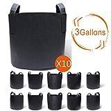 Gardzen 10-Pack 3 Gallons Grow Bags, Aeration Fabric Pots...