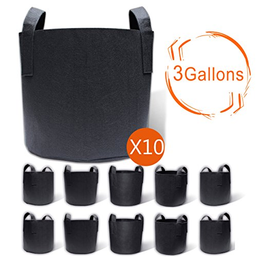 Gardzen 10-Pack 3 Gallons Grow Bags, Aeration Fabric Pots with Handles (Planter Bags Garden)