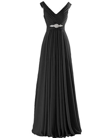 XGSD Womens Evening Dress Long Chiffon Evening Dress A-line Prom Bridesmaid Party Dress Vestidos
