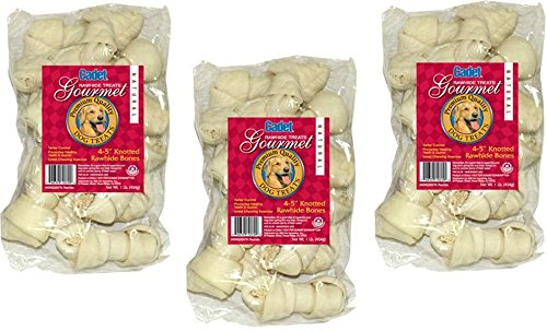(3 Pack) IMS Trading Natural Rawhide Bone for Dogs, 4-Inch / 1-Pound Bags