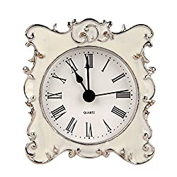 NIKKY HOME Pewter Pretty Small and Cute Vintage Table Clock with Quartz Analog Crystal Rhinestone 3 Inch for Living Room Bathroom Decoration, White Enamel
