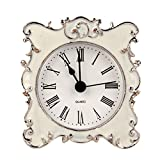 Small Bathroom Vanity Ideas NIKKY HOME Pewter Pretty Small and Cute Table Clock with Quartz Analog Crystal Rhinestone 3 Inch for Living Room Bathroom Decoration , White Enamel