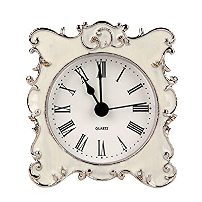 NIKKY HOME Pewter Pretty Small and Cute Vintage Table Clock with Quartz Analog Crystal Rhinestone 3 Inch for Living Room Bathroom Decoration, White Enamel - The body is made from pewter. The metal hands makes this table clock tick steadily. Measures approx.3.15 x 1.18 x 2.76 Inches. A beautiful border decorated with white crystal rhinestones and hollow out design back cover gives a elegance look. - clocks, bedroom-decor, bedroom - 51VjlL4ODwL. SS400  -