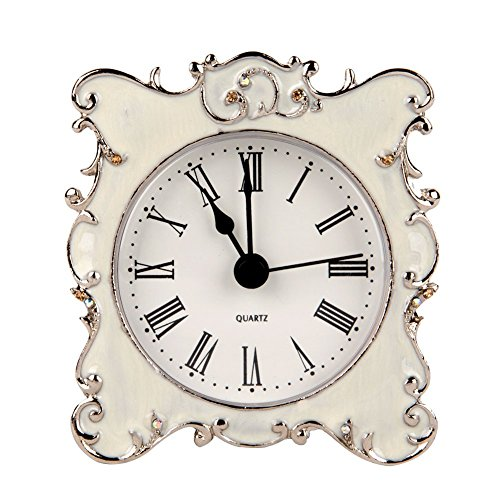 (NIKKY HOME Pewter Pretty Small and Cute Vintage Table Clock with Quartz Analog Crystal Rhinestone 3 Inch for Living Room Bathroom Decoration, White)
