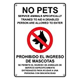 Weatherproof Plastic Vertical ADA No Pets Service Animals Allowed Bilingual Sign with English & Spanish Text and Symbol
